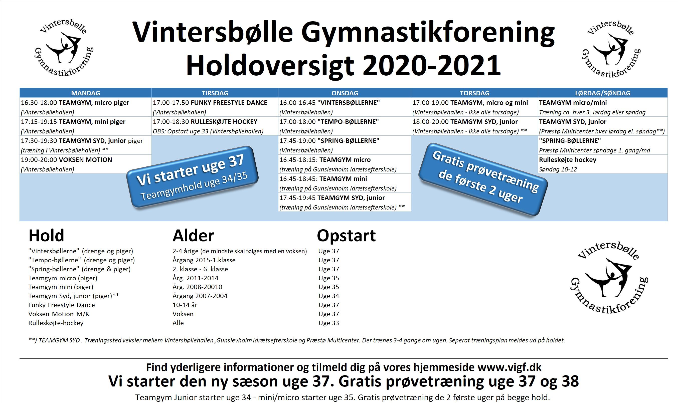 Holdoversigt 2020 / 2021